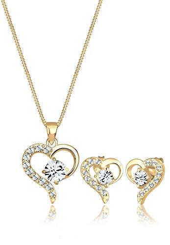 Elli Damen Schmuckset aus Halskette und Ohrringen Herz Liebe Swarovski Kristalle Edel in 925 Silber - 45cm Länge