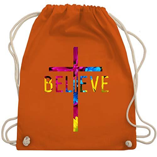 Statement Shirts - Believe Flowers - Unisize - Orange - WM110 - Turnbeutel & Gym Bag -