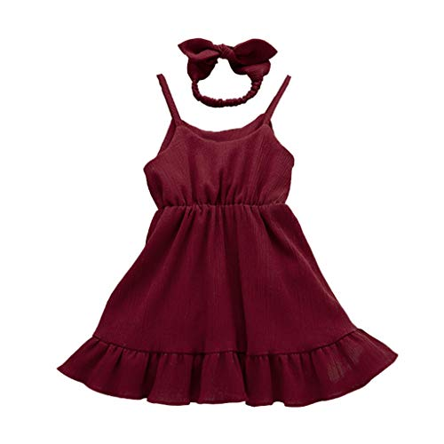 DressLksnf Kleinkind Mädchenkleider Ärmellos Einfarbig Cocktailkleider Sling Prinzessin Kleid mit Stirnband
