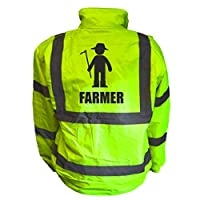 Farmer Kids Hi Vis Yellow Bomber Jacket, Reflective High Visibility Safety Childs Coat, By Brook Hi Vis