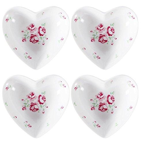 -Herz-geformte keramische Gewürz-Teller / Soßen-Teller / Teebeutel-Halter / Aperitif-Platten / Servierplatte (Satz von 4) ()