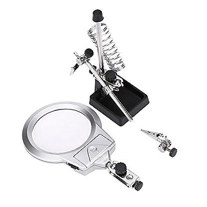 KKmoon Lupa de escritorio de soldadura multifuncional con clip de cocodrilo de 2 LED y soporte de soldadura de mano auxiliar con herramienta de aumento de reparación re