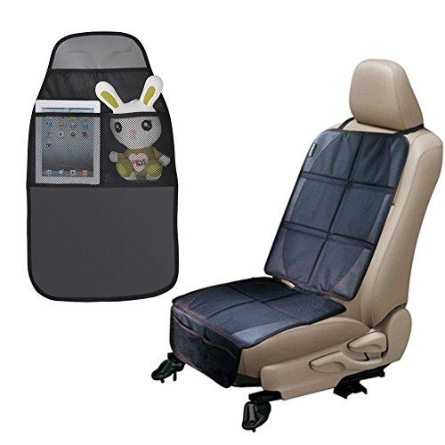 Auto Kindersitzunterlage mit Rückenlehnenschutz, Autositzschoner für kinder zum Schutz Ihrer Autositze (Schwarz)