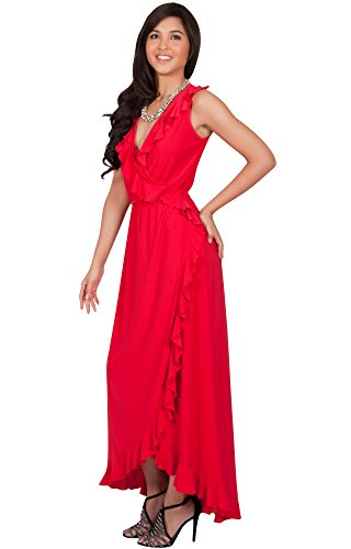 KOH KOH Da Donna Maxi abito estivo morbido da sera senza maniche con scollo a V Vestiti Rosso