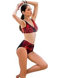 Damen Bikini mit Schalen, schwarz/rot, C-Cup, versch. Größen