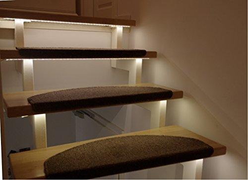 LED Treppenbeleuchtung für den Innenbereich | Warmweiß | für 7 Stufen je 1 Meter + 0,5m Anschluss | optional mit Dimmer