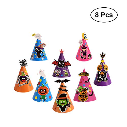 BESTOYARD Halloween Party Hüte Cartoon DIY Papier Kappe Dekorative Cosplay Ornament Hexe Spinne Hut Kostüme für Kinder Kinder 8 Pack