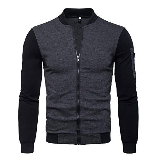 Veravant Sweat-Shirt Homme Manches Longues Pull Uni Zippé Bomber Blouson Veste Sport (Gris02, L)