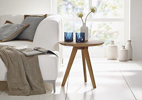 SAM Stilvoller Rundtisch, Couchtisch Olpe, 50 cm rund, Esstisch aus massiver Kernbuche, geölt, Tisch in natürlichem zeitlosem Design