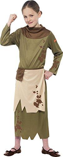 Halloween Kostüm Bauernmädchen (Smiffy's 25913M - Horrible Histories Revolting Bauernmädchen-Kostüm mit Kleid angebaute Schürze und Gürteltasche,)