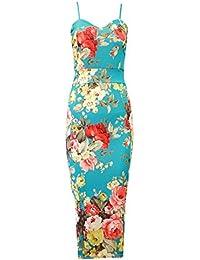 MIXLOT Damen Grüne Blumen Tropische Rose Print Cami Schlitz Midi Bodycon Kleid