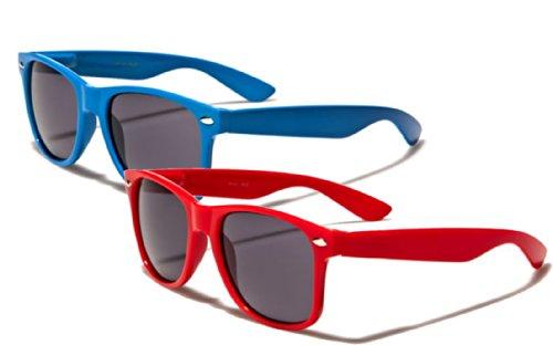 Nerd Sonnenbrille im Stil Retro Vintage Unisex Brille - Boolavard® TM (2 Paare Rot + Blau Tönung)