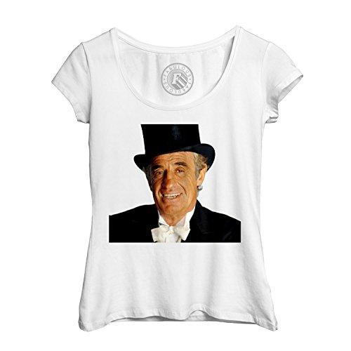T-shirt Femme Col Rond Echancré jean paul belmondo chapeau l artiste