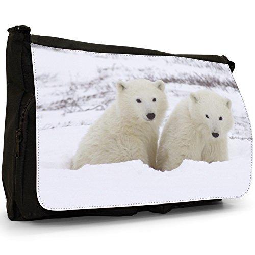Orsi polari–Borsa Tracolla Tela Nera Grande Scuola/Borsa Per Laptop Polar Bear Cubs In Snow