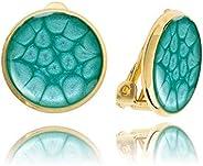 Les Boucles d'Oreilles à Clips Plaquées Or Rondes et Classiques de Couleur Bleu pour Elle