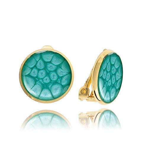 Klassische Hellblau Ohrclips in Goldfarben für Sie -