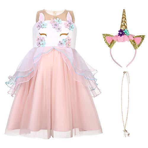 URAQT Eiskönigin Prinzessin Kostüm Kinder Glanz Kleid Mädchen Weihnachten Verkleidung Karneval Party Halloween Fest, Pink 140CM