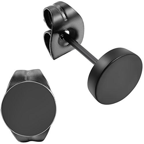 Flongo Ohrstecker Knopf, 5mm Edelstahl Gestüt Stecker Ohrringe Ohrstecker Flach Matt Ohrhänger Schwarz für Männer Herren Damen