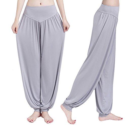 iBaste Super Doux Spandex Modal Pantalon Sarouel Bouffant Elastique Extensible Harem Yoga Pilates Femme Gris clair
