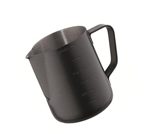 Kerafactum® - Black Barista Sahnekännchen Milch Pitcher kleine Kanne Milchkännchen zum aufschäumen Aufschäumer Milchkanne Kännchen aus Edelstahl 0,35 Liter - Milk Pitcher 12 FL.oz -