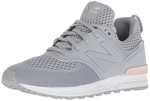 New Balance Girls' 574v1 Sport Sneaker, Grey/Pink, 13 W US Little Kid (New Balance-13w)
