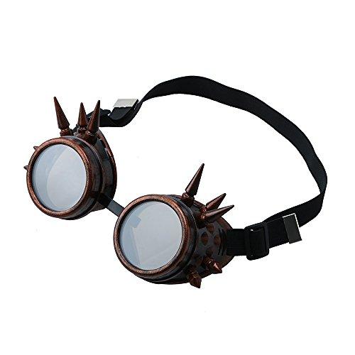 Unisex Sonnenbrille, Zolimx Weinlese-viktorianisches Steampunk-Schutzbrillen-Glas-schweißendes Cyber Punk Gothic Cosplay (F)