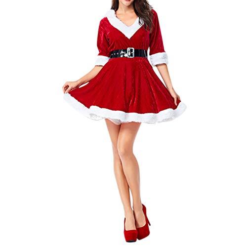 Sexy Miss Kostüm Claus - LAEMILIA Weihnachten Kostüm Weihnachtskleid Weihnachtsfrau Miss Santa Verkleiden V Neck Samt A Linien Kapuzen Weihnachtskostüm Mit Gürtel