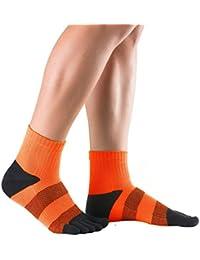Knitido Track & Trail Flash   Kurze Sport-Zehensocken aus Coolmax®, ideal zum Laufen und Joggen, robust und bequem, für Damen und Herren (bis Gr. 46), in Grün und Orange