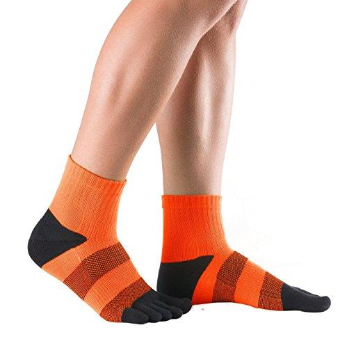 Knitido Track & Trail Flash - Classici calzini sportivi con dita in tessuto Coolmax®, Size:UK 9-11;Colours:orange/black