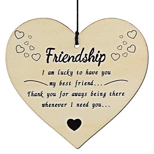 Tuparka 1 Set handgemachte hölzerne hängende Herz-Plakette für Freunde, Freundschaft hängen Zeichen (1 Set)