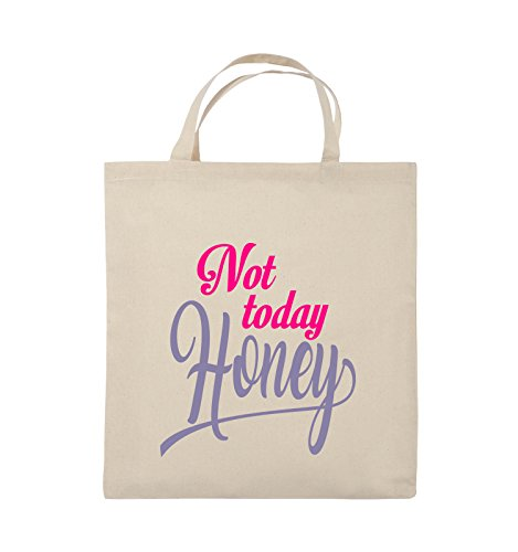 Comedy Bags - Not today Honey - Jutebeutel - kurze Henkel - 38x42cm - Farbe: Schwarz / Weiss-Neongrün Natural / Pink-Violet