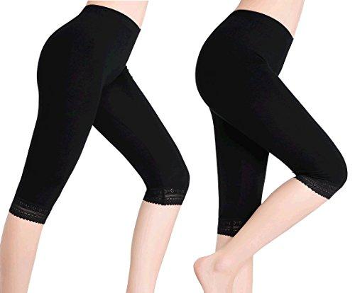 Damen Kurze Leggings Capri Hose Unter Rock Elastische Weich 3/4 Leggins Spitze, Gr.- XL, 2-pack:schwarz Spitzenbesatz (Capri-rock)