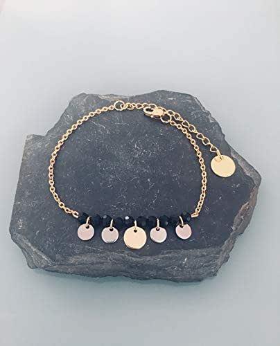 Bracciale in acciaio inossidabile gourmet da donna con perline e francobolli in oro e argento, bracciale d'oro, idea regalo, bracciale di perle, gioielli regalo, gioielli d'oro