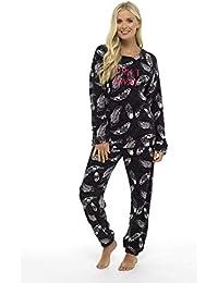 CityComfort Pijama Mujer Invierno Suave Cómodo con Plumas Prosecco Estrellas Vario Estilos Pijamas Invernal Regalo para