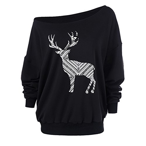 Yalatan Frauen Damen T-Shirt Lose Deer Printing Merry Weihnachten One Off Schulter Langarm Top Für Femme (Design-junioren Tag Tee)