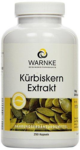 Warnke Gesundheitsprodukte Kürbiskern Extrakt (10:1) 500 mg mit nat. Vitamin E und Selen, 250 Kapseln, Großpackung, 1er Pack (1 x 190 g)