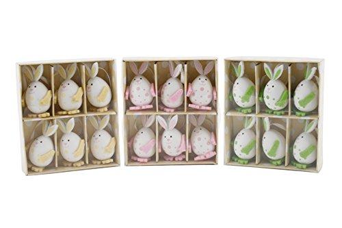 Set di 6decorazioni dell' albero di Pasqua coniglietto pasquale-colori a scelta Yellow