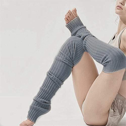 WNFDH Socken 2 Paar Frauen Mädchen Über dem Knie Socken Gestrickte Oberschenkel Hohe Lange BaumwollbeinlingeNeu, grau, L -