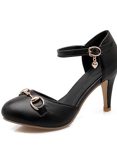 WSS 2016 Chaussures Femme-Habillé-Noir / Rose / Blanc / Amande-Talon Aiguille-Talons / Bout Ouvert-Talons-Similicuir black-us8.5 / eu39 / uk6.5 / cn40