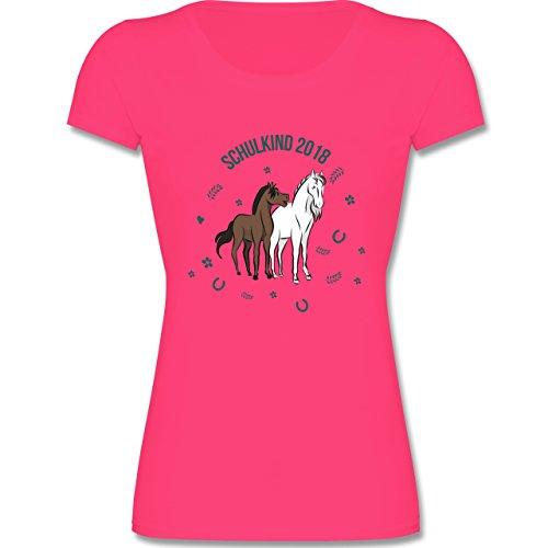 Einschulung - Schulkind 2018 Pferde - 164 (14-15 Jahre) - Fuchsia - F288K - Mädchen T-Shirt (Fuchsia Kleine Bekleidung Kinder)