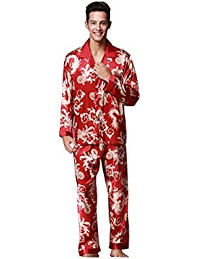 Pakamo de los hombres Conjuntos de pijama Primavera y otoño Suit Collar Long Sleeves + Trousers Ropa de dormir...