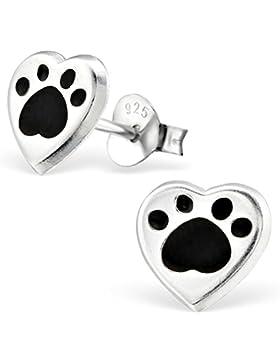 JAYARE Kinder-Ohrstecker Hunde-Pfoten Tatzen 925 Sterling Silber Emaille 7 x 8 mm schwarz Ohrringe