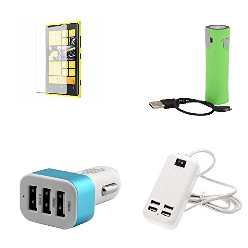 Cell Planets Nokia 540 Compatible High Quaity (Temper Glass & 2600 MAH Power Bank & 3 Port Car Charger & 3 Port Car Charger) CP-14810