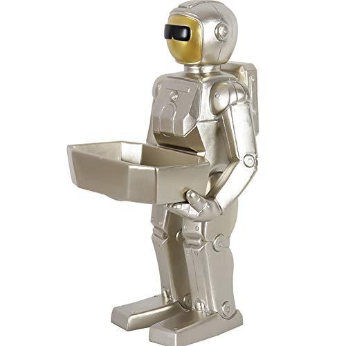 LPRWEC Silber Harz Kreative Skulptur Roboter Veranda schlüssel aufbewahrungsbox Handgemachte Statue Home Office Decor Schrank Handwerk Kunst Ornamente Skulptur Durable Skulptur Geschenk - Roboter-womens Licht