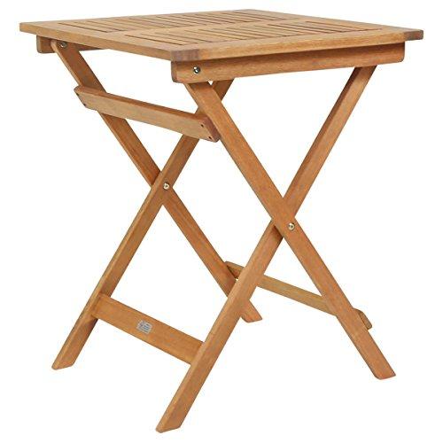 Bentley - Table carrée pour Patio et Jardin - Bois Dur certifié FSC - Pliable