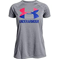 Under Armour Girl's Big Logo Tee Solid SS TEES AND T-SHIRTS, Grey (Steel Light Heather/penta Pink/const), Small