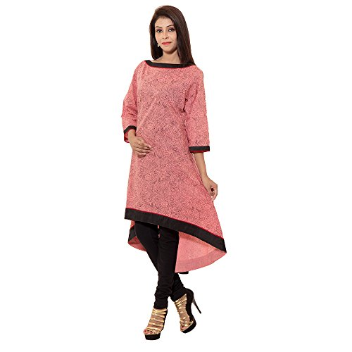 LOOK GORGEOUS WITH THE DRESS ,GROOVE THE PARTY AND BE THE FACE OF IT BY COMPLETE MAKE OVER WITH THIS JAIPUR ATTIRE COTTON PRINTED PINK PEACH COLOUR KURTI , WITH BOAT NECK COLLAR,C SHAPE BOTTOM CUT, 3/4TH SLEEVE , WEAR THIS AS A DRESS OR WITH BLACK LAGGINGS OR CHUDIDAAR.  available at amazon for Rs.599
