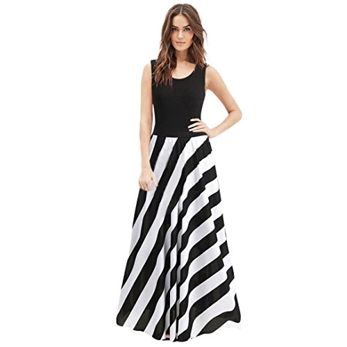 OIKAY Frauen Sommer Casual Lady Cold Schulter Weste Solid Stripe Langes Kleid