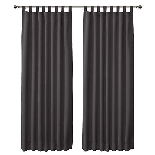 FLOWEROOM Verdunklungsvorhänge Blickdicht Gardinen mit Schlaufen für Schlafzimmer, 245 x 140cm (HxB) Grau, 2 Stück