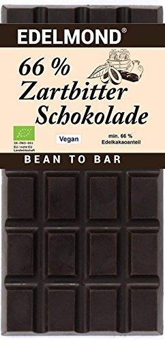 Edelmond® Bio 66% Zartbitter Schokolade ✓ Aus der vollen Kakaobohne gewalzt ✓ Grand Cru Edelbohnen ✓ Fruchtig und Vollmundig ✓ Vegan & Fair-Trade